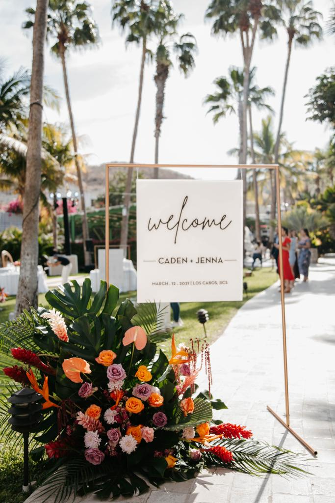 wedding reception welcome sign tropical florals